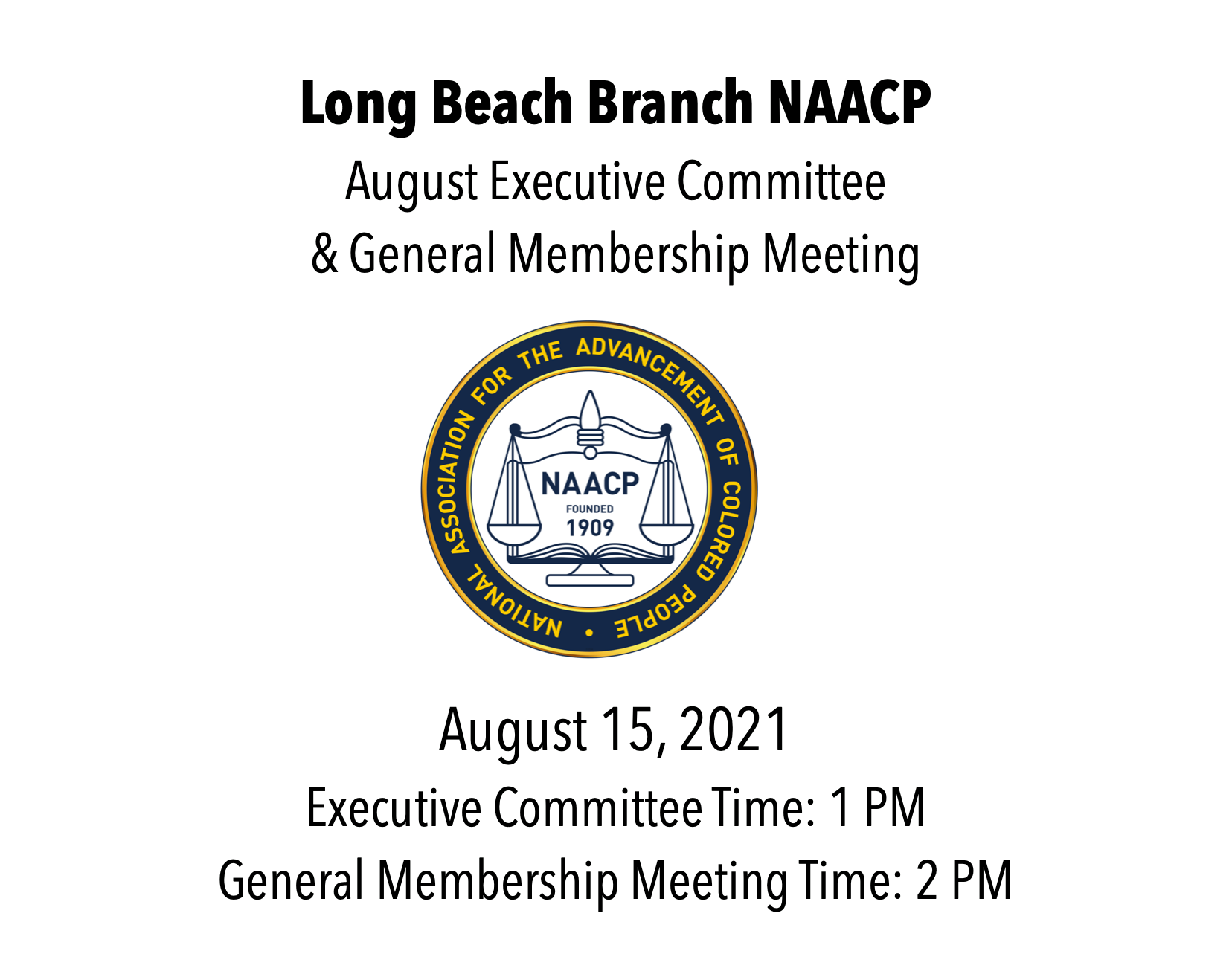LB NAACP August Meeting