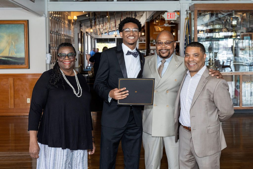 LB NAACP Branch President Naomi Rainey Pierson with AJ Smith, Jesse Johnson, and Robin Perry, Attorney and supporter of both LB NAACP and 100 Black Men of Long Beach in the areas of law, moot court, and public speaking.