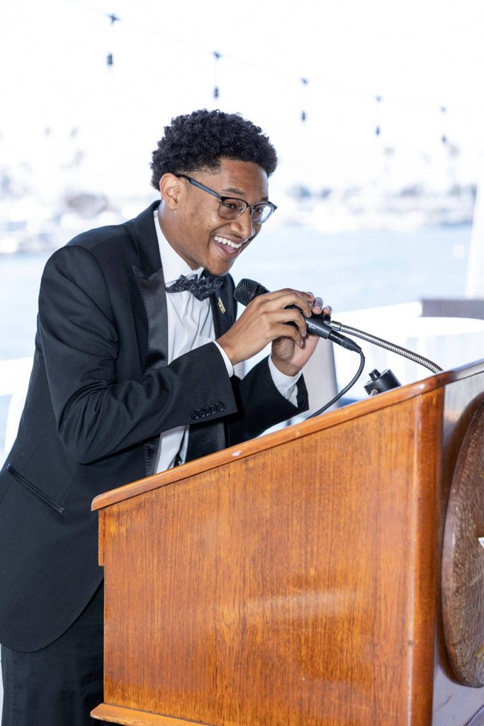 AJ Smith, a member of both LB NAACP and 100 Black Men of LB, shared the importance of scholarship support from the village. He is a junior at Howard University and is following the footsteps of Thurgood Marshall, the first African American Supreme Court Justice.